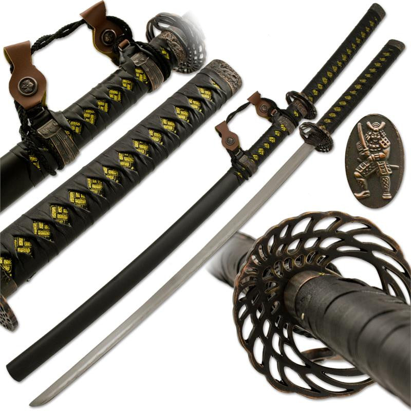 Angel of Death Katana Sword with Bronze Finish Accents and Stainless Steel Blade