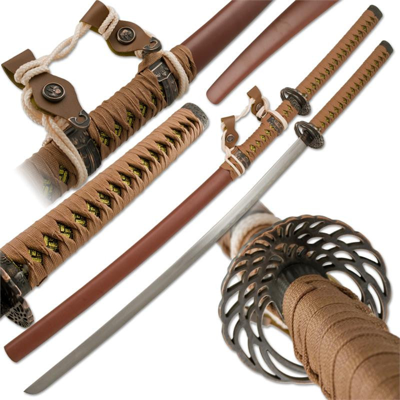 Brown Chocolate Katana Samurai Sword and Scabbard, , Panther Trading Company- Panther Wholesale