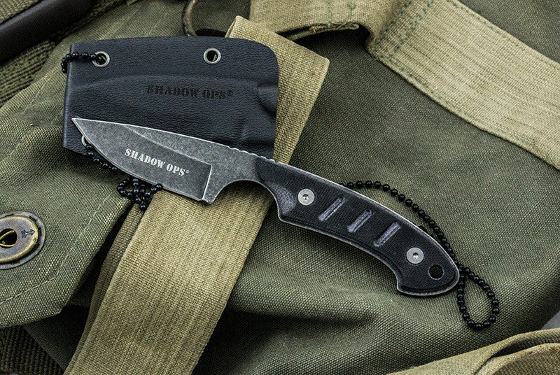 Shadow-Ops Military Neck Knife W- G-10 (3 Strikes)