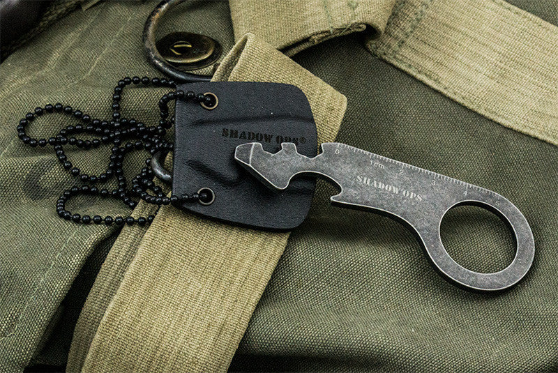 Shadow Ops Neck Bottle Opener With Ball Chain Kydex Sheath and Ruler, , Panther Trading Company- Panther Wholesale