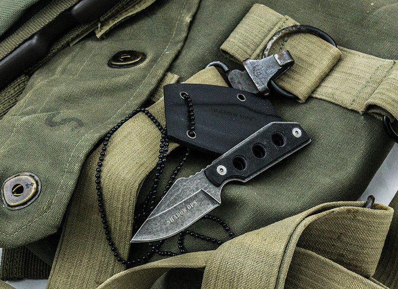 Shadow Ops Neck Knife With Ball Chain and Sheath, , Panther Trading Company- Panther Wholesale
