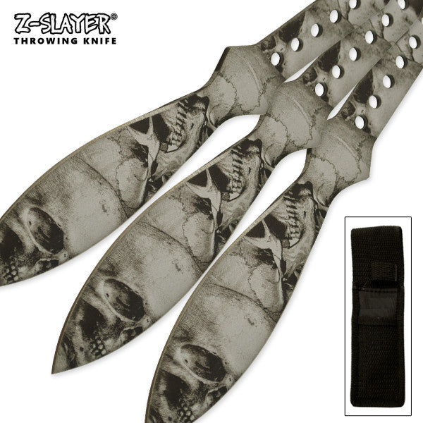 Silver Throwing Knife 3 PC Kit With Protective Case, , Panther Trading Company- Panther Wholesale