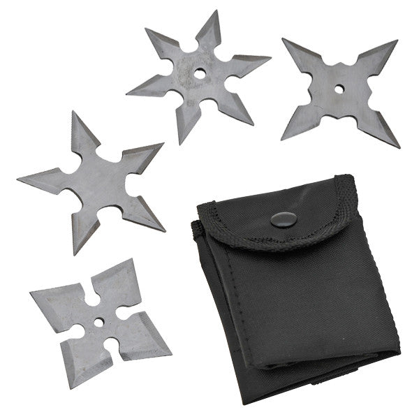 4 Piece Mini Throwing Stars Set - Panther Wholesale