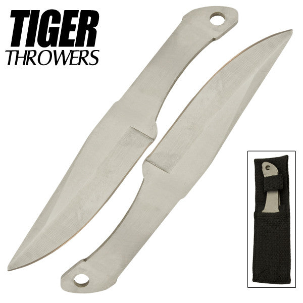 Tiger Thrower - Throwing Knives - Silver - Set of 2 - 6 Inch - Comes with Sheath, , Panther Trading Company- Panther Wholesale