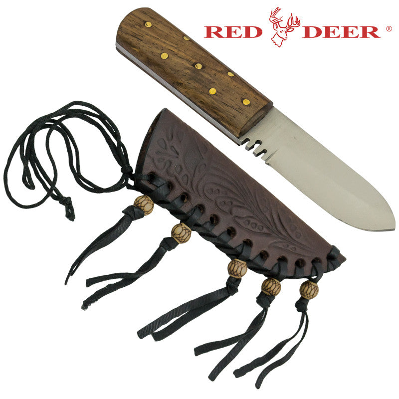 Small Red Deer Patch Knife with Sheath