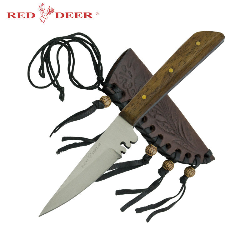 Small Red Deer Patch Knife with Sheath, , Panther Trading Company- Panther Wholesale