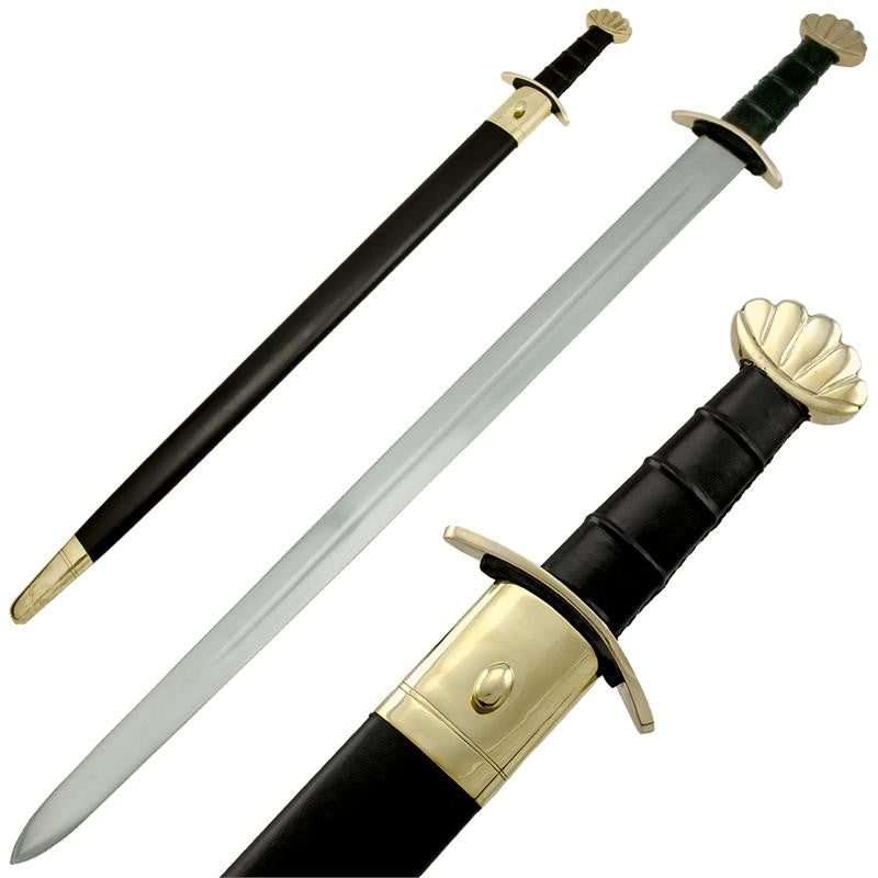 Viking Battle Ready Sword and Scabbard Set - Gold, , Panther Trading Company- Panther Wholesale