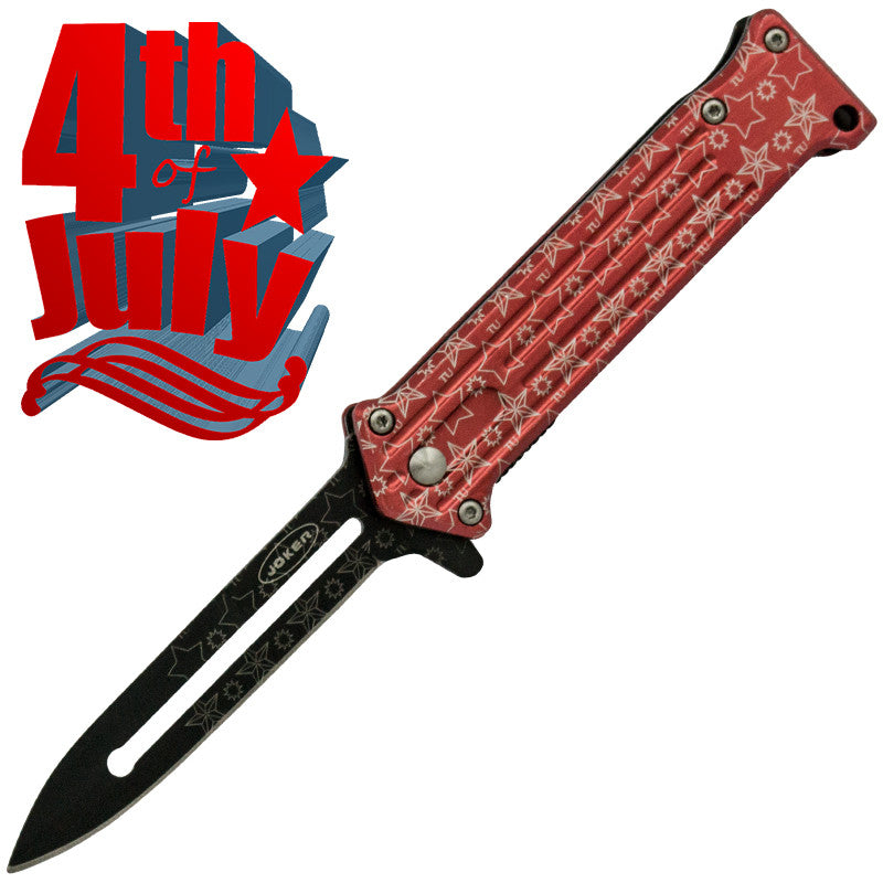 Star Spangled 4th of July Trigger Action Knife - Red (Serrated), , Panther Trading Company- Panther Wholesale