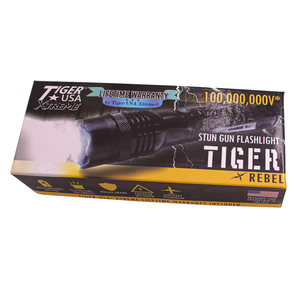 100 Mill V TIGER X Rebel Tiger USA Xtreme Stun Gun Flashlight