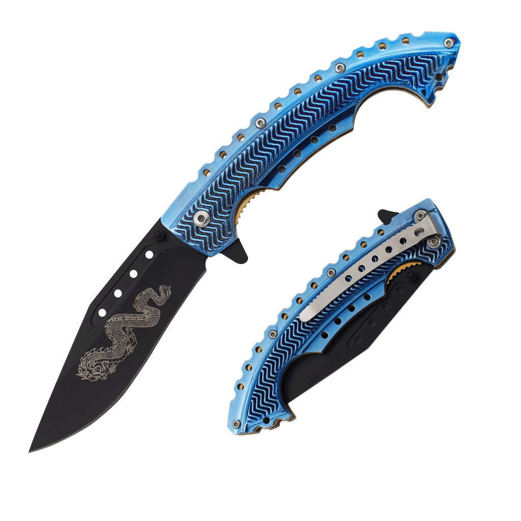 Blue Dragon Trigger Action Knife, , Panther Trading Company- Panther Wholesale