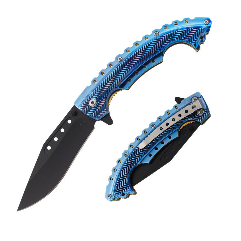 Blue Strike Trigger Action Knife, , Panther Trading Company- Panther Wholesale