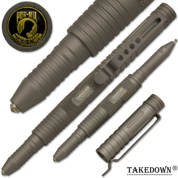 POW-MIA Tactical Public Safety Tool & Pen Survival Tip Pen Grey, , Panther Trading Company- Panther Wholesale