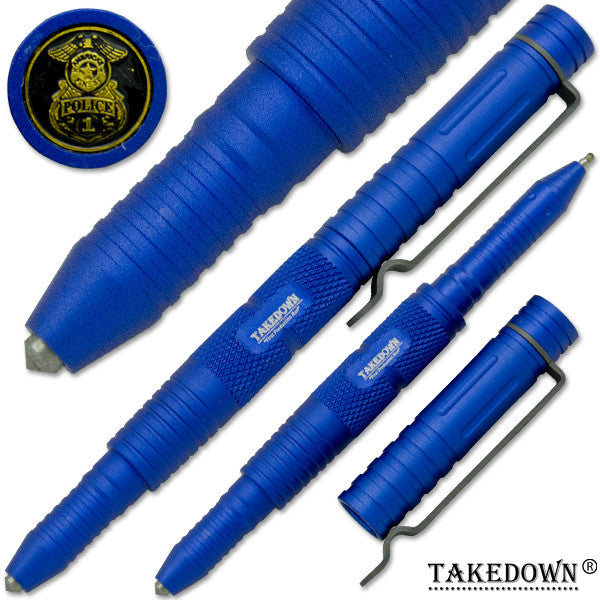 Police & Law Enforcement Tactical Self-Defense Tool & Pen Blue, , Panther Trading Company- Panther Wholesale