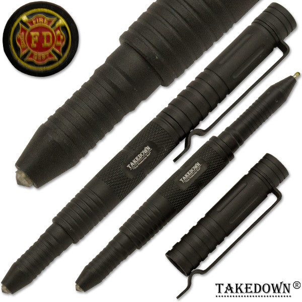 Fire-Fighter Tactical public safety Pen With Window Breaker Black, , Panther Trading Company- Panther Wholesale