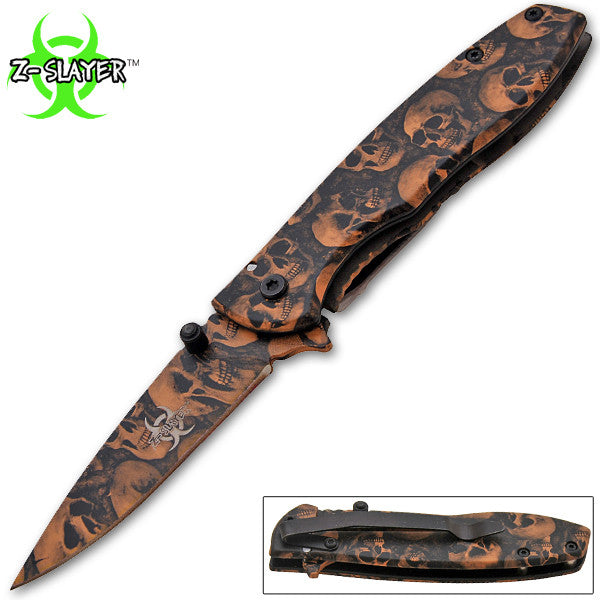 BUT 1 GET 1 FREE: Z-Slayer Trigger Action Knife - Beige Skulls, , Panther Trading Company- Panther Wholesale