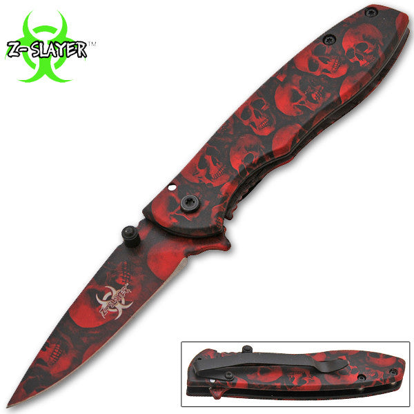 BUY 1 GET 1 FREE: Z-Slayer Trigger Action Knife - Red Skulls - Panther Wholesale