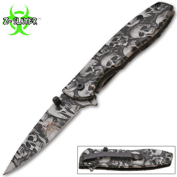 Z-Slayer Trigger Action Knife - Silver Skulls, , Panther Trading Company- Panther Wholesale