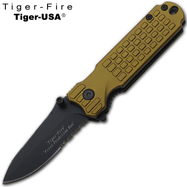 6 Inch Tiger-Fire trigger action Folding Knife - Gold /Green