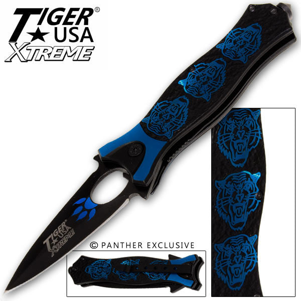 Tiger USA Xtreme Tiger Roar Knife - Blue, , Panther Trading Company- Panther Wholesale