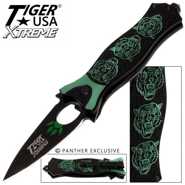 Tiger USA Xtreme Tiger Roar Knife - Green, , Panther Trading Company- Panther Wholesale