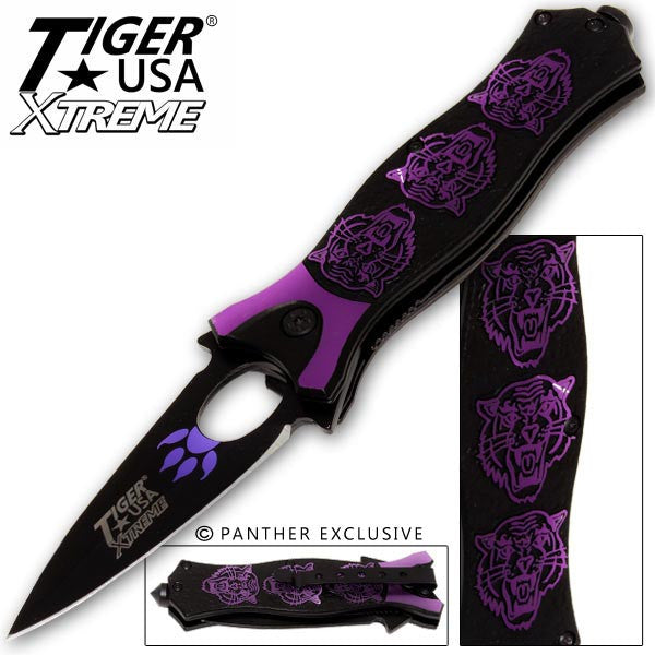 Tiger USA Xtreme Tiger Roar Knife - Purple, , Panther Trading Company- Panther Wholesale