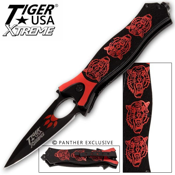 Tiger USA Xtreme Tiger Roar Knife - Red, , Panther Trading Company- Panther Wholesale