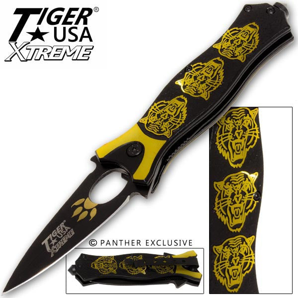Tiger USA Xtreme Tiger Roar Knife - Gold, , Panther Trading Company- Panther Wholesale