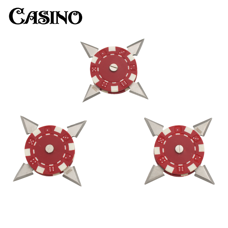 3 Inch Casino Poker Chip Throwing Star- Red- With Case, , Panther Trading Company- Panther Wholesale