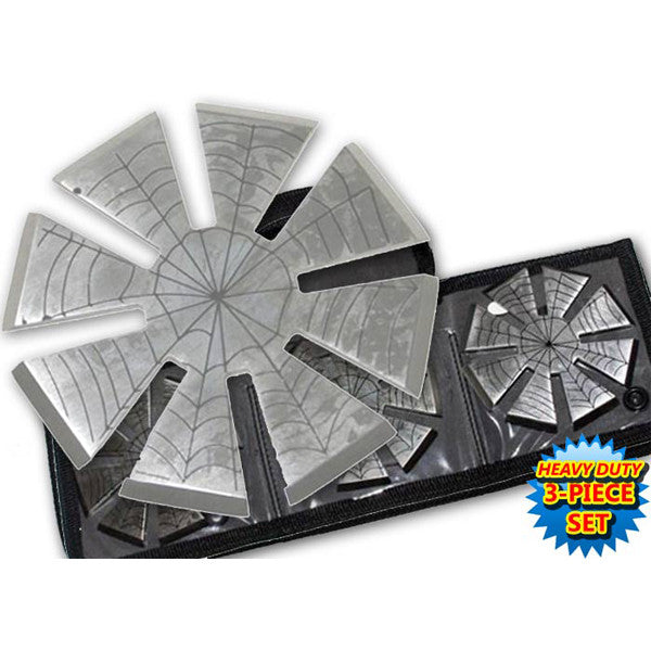 3 Inch Spider Web Throwing Stars - Silver, , Panther Trading Company- Panther Wholesale