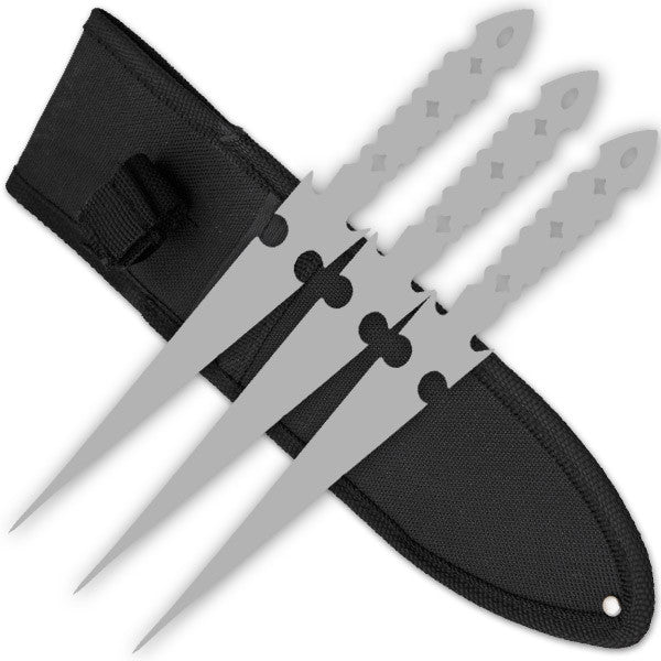 3 PCS 9 Inch Tiger Throwing Knives W/ Case - Silver-5, , Panther Trading Company- Panther Wholesale