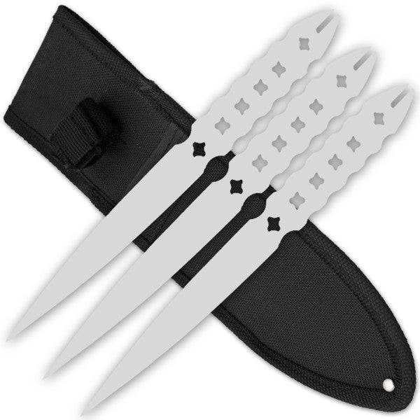 3 PCS 9 Inch Tiger Throwing Knives W/ Case - Silver-6, , Panther Trading Company- Panther Wholesale