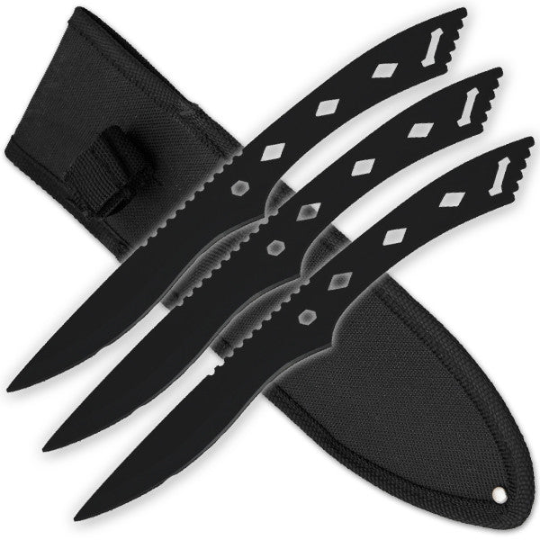 3 PCS 9 Inch Tiger Throwing Knives W/ Case - Black-7, , Panther Trading Company- Panther Wholesale
