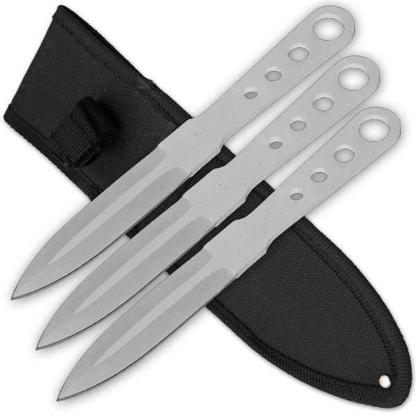 3 PCS 6 Inch Tiger Throwing Knives W/ Case - Silver