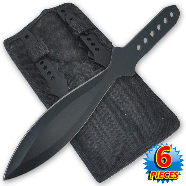 "11 Inch 6.4 Oz Black ""Tiger Thrower"" Throwing Knives (Set of 6), , Panther Trading Company- Panther Wholesale"