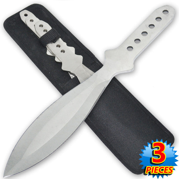 "12 Inch 7.6 Oz Silver ""Tiger Thrower"" Throwing Knives (Set of 3), , Panther Trading Company- Panther Wholesale"