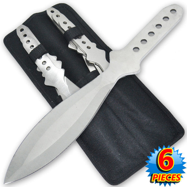 6.5 Inch 4 Oz Silver Tiger Thrower Throwing Knives (Set of 6), , Panther Trading Company- Panther Wholesale