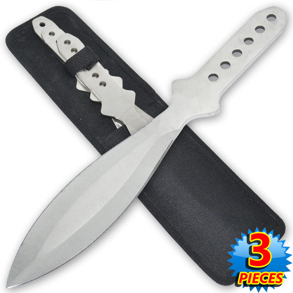 6.5 Inch 4 Oz Silver Tiger Thrower Throwing Knives (Set of 3), , Panther Trading Company- Panther Wholesale