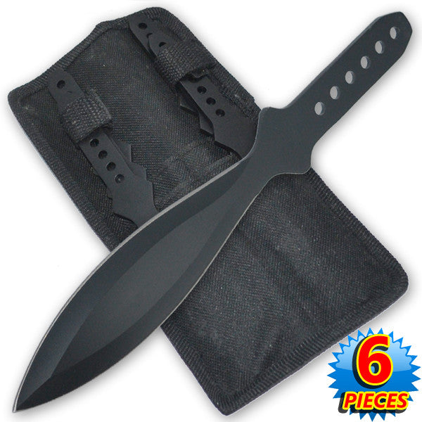 9 Inch 4.2 Oz Black Tiger Thrower Throwing Knives (Set of 6), , Panther Trading Company- Panther Wholesale