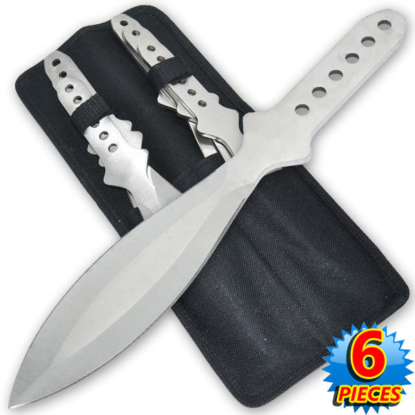 9 Inch 4.2 Oz Silver Tiger Thrower Throwing Knives (Set of 6)