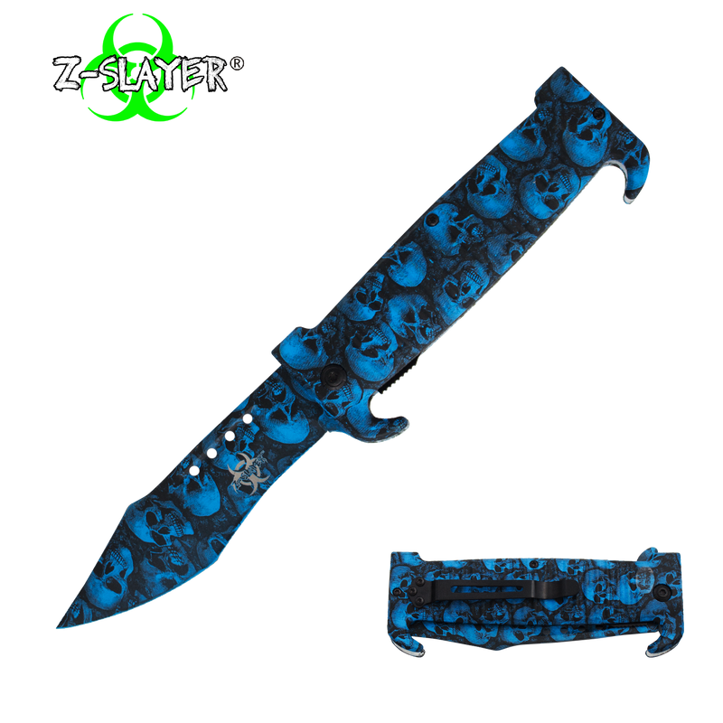 9 Inch Trigger ActionZ-Slayer Death Curve Knife - Blue