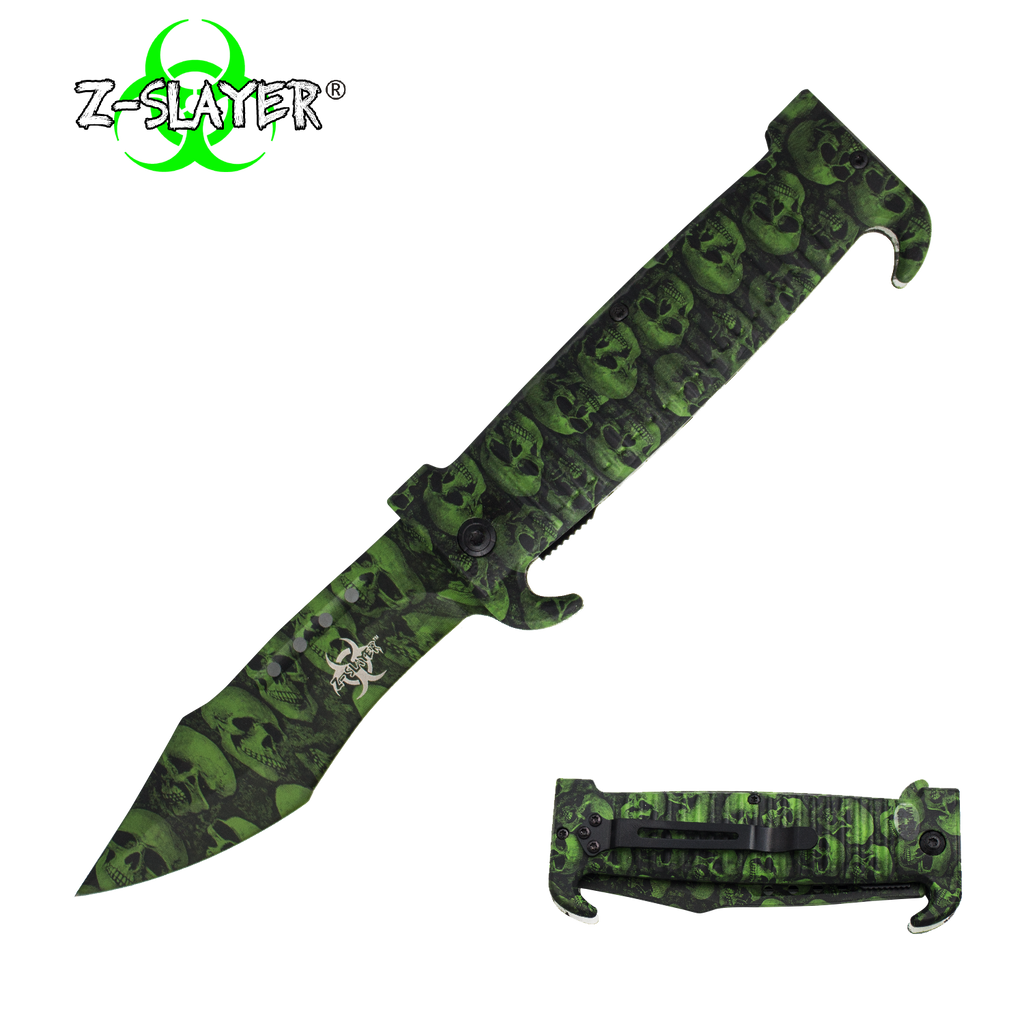 9 Inch Trigger ActionZ-Slayer Death Curve Knife - Green, , Panther Trading Company- Panther Wholesale