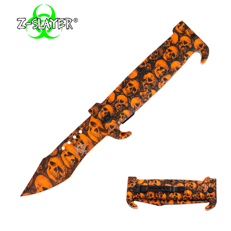9 Inch Trigger ActionZ-Slayer Death Curve Knife - Orange, , Panther Trading Company- Panther Wholesale