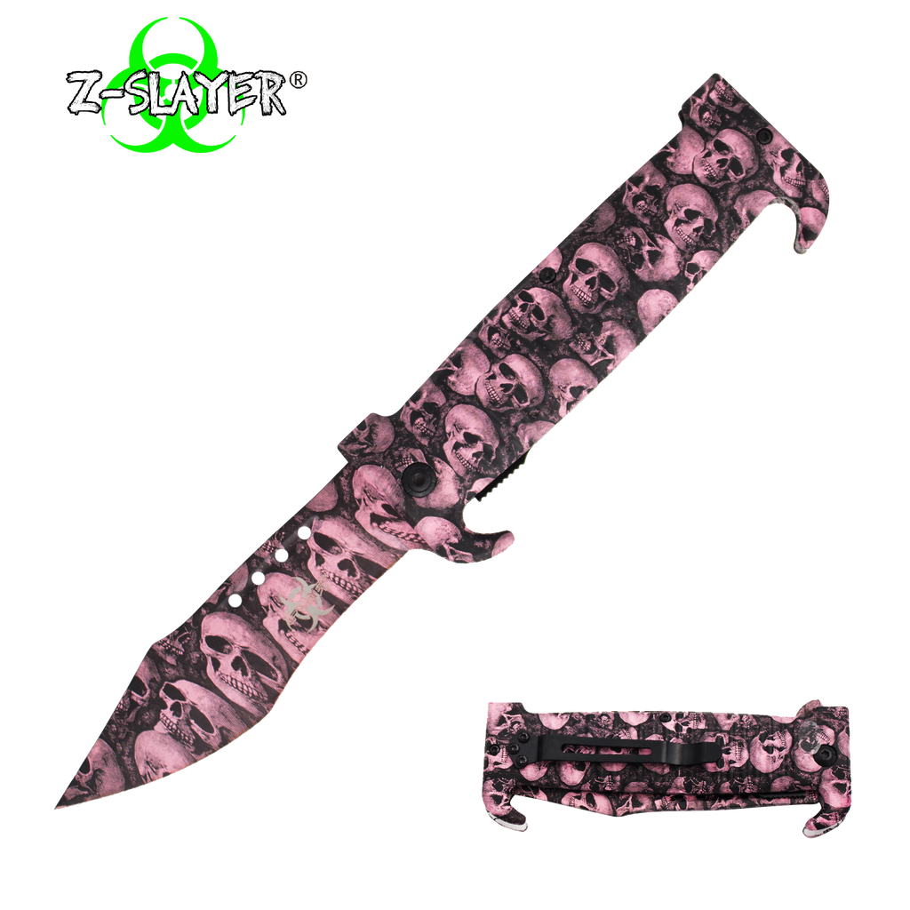 9 Inch Trigger ActionZ-Slayer Death Curve Knife - Pink, , Panther Trading Company- Panther Wholesale