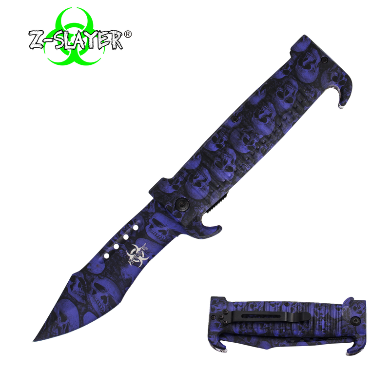 9 Inch Trigger ActionZ-Slayer Death Curve Knife - Purple, , Panther Trading Company- Panther Wholesale