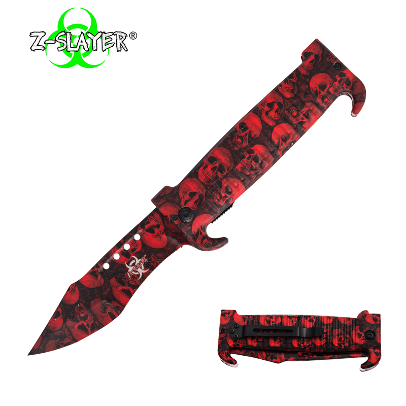 9 Inch Trigger ActionZ-Slayer Death Curve Knife - Red