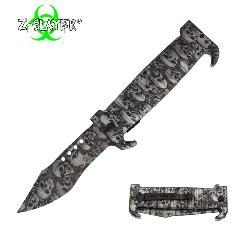 9 Inch Trigger ActionZ-Slayer Death Curve Knife - Silver, , Panther Trading Company- Panther Wholesale