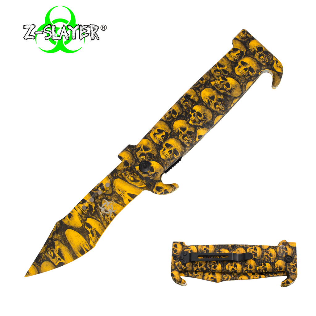 9 Inch Trigger ActionZ-Slayer Death Curve Knife - Yellow, , Panther Trading Company- Panther Wholesale