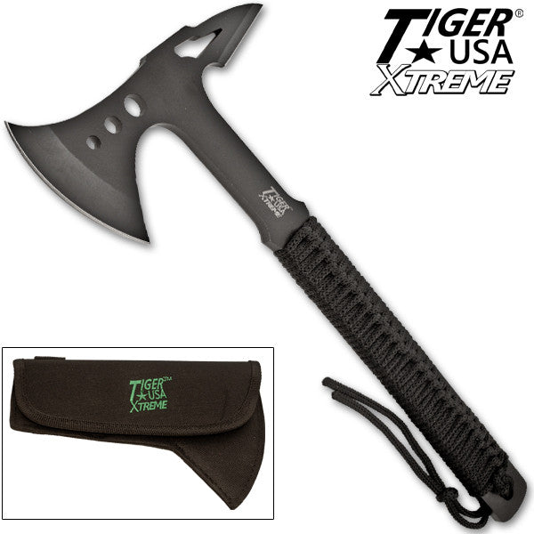 Tiger-USA Tactical Tomahawk - Black with Custom Sheath, , Panther Trading Company- Panther Wholesale
