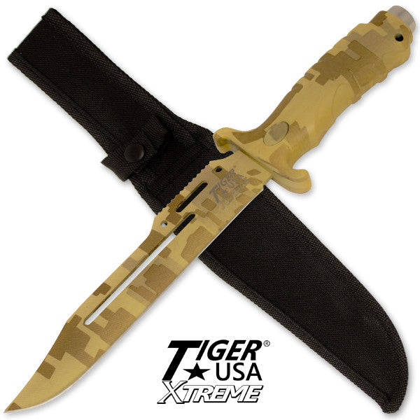 Tiger USA Xtreme 13 Inch Survival & Combat Knife - Yellow Digital, , Panther Trading Company- Panther Wholesale