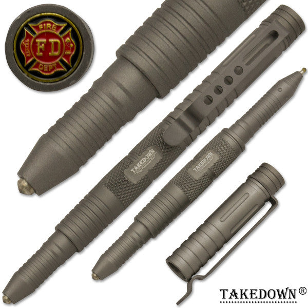 Fire-Fighter Tactical public safety Pen With Window Breaker Grey, , Panther Trading Company- Panther Wholesale